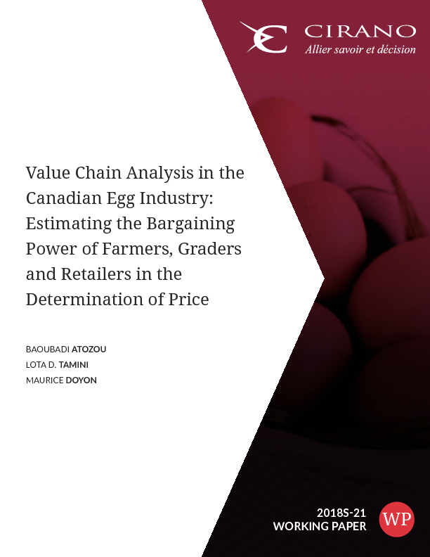 CIRANO / Sommaire / Value Chain Analysis in the Canadian Egg